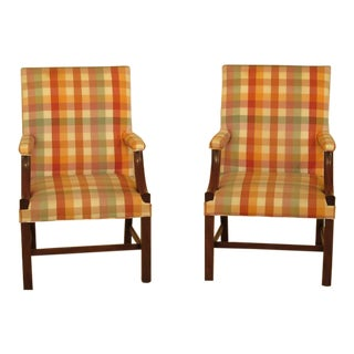 Kittinger Colonial Williamsburg 1011 Open Arm Mahogany Library Chairs - a Pair