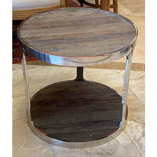 Reclaimed Wood and Polished Chrome Accent Table For Sale - Image 4 of 10