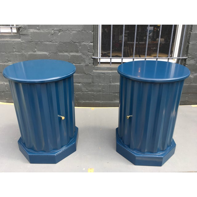 1950s Art Deco Dark Blue Lacquered Column Shaped Drum Tables - a Pair For Sale - Image 11 of 12