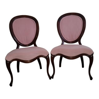 Victorian French Pink Velvet Chairs - a Pair