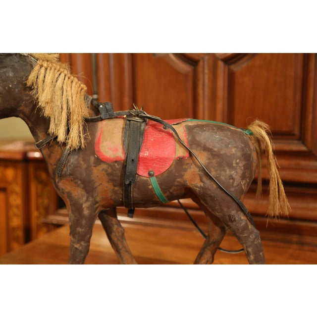 19th Century French Leather Papier Mache and Horse Hair Painted Sculpture For Sale - Image 4 of 10