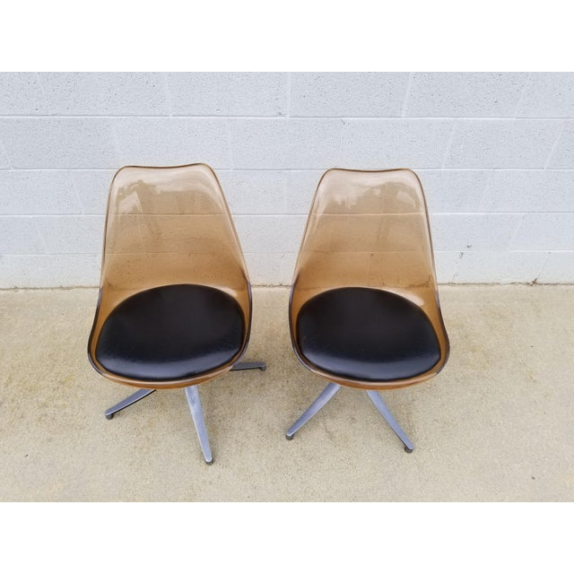 Mid-Century Modern Mid Century Chromcraft Brown Lucite Side Chairs- a Pair For Sale - Image 3 of 8
