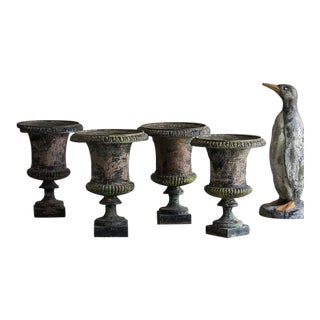 Set of Four Antique Italian Campana Style Cast Iron Urns circa 1875 For Sale