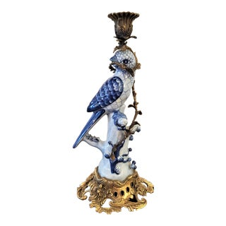 Vintage Porcelain & Ormolu Parrot Candlestick For Sale