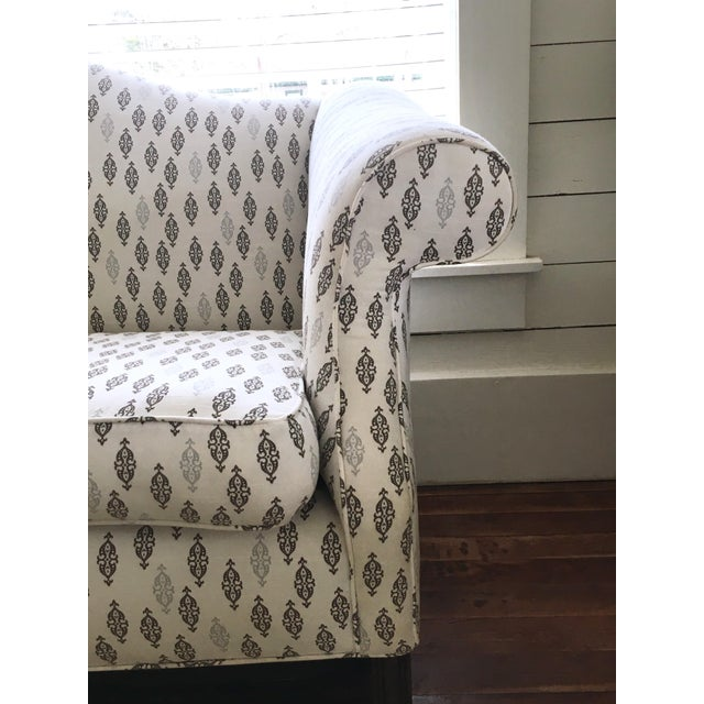 Fabric Vintage Camel Back Chippendale Loveseat Sofa For Sale - Image 7 of 8