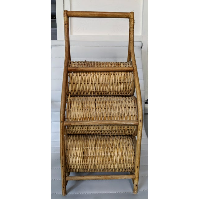 American 1980s Wicker Wine Caddy For Sale - Image 3 of 6