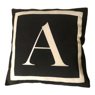 "Classic Black Monogram Initial ""A"" Accent Pillow"
