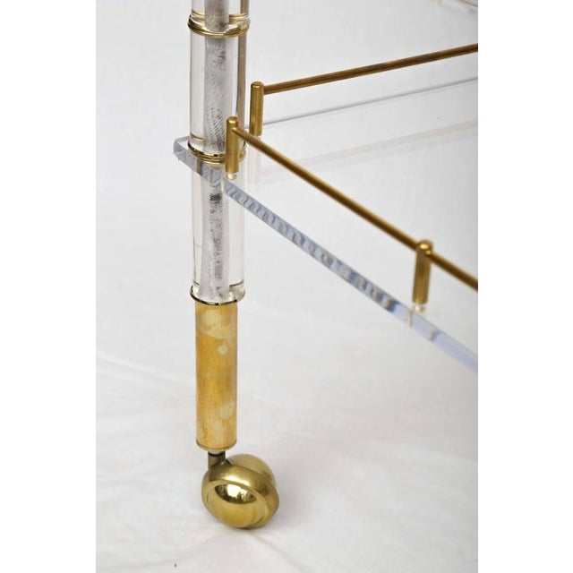 Lucite and Brass Bar Cart on Casters in the Style of Hollis Jones - Image 7 of 9