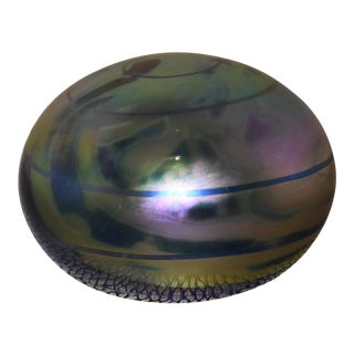 Levey Iridescent Swirl Art Glass Paperweight, Signed For Sale