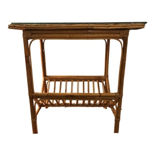 Wicker & Bamboo Side Table With Magazine Rack