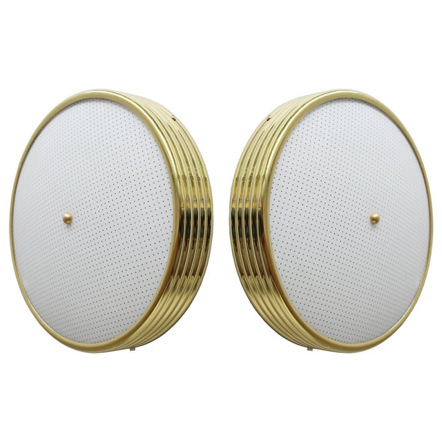 An early pair of banded brass ceiling lights or flush mounts with new domed glass with dot pattern. surface depth 3.25...