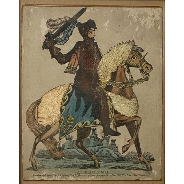 An early 19th Century English Regency Period colored print of a knight on his steed.