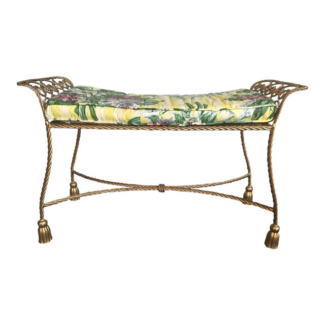 Hollywood Regency Gold Gilt Wrought Iron Tassel Vanity Bench For Sale