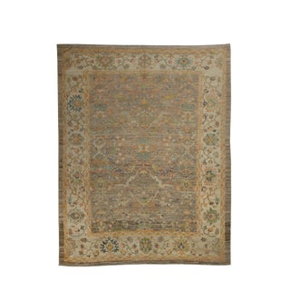 """Hand Knotted Turkish Oushak Weave With Floral Design-12'3x15"""" For Sale"""