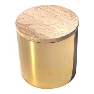 Matte Brass Drum Table With Travertine Top by Paul Mayen, Habitat International For Sale