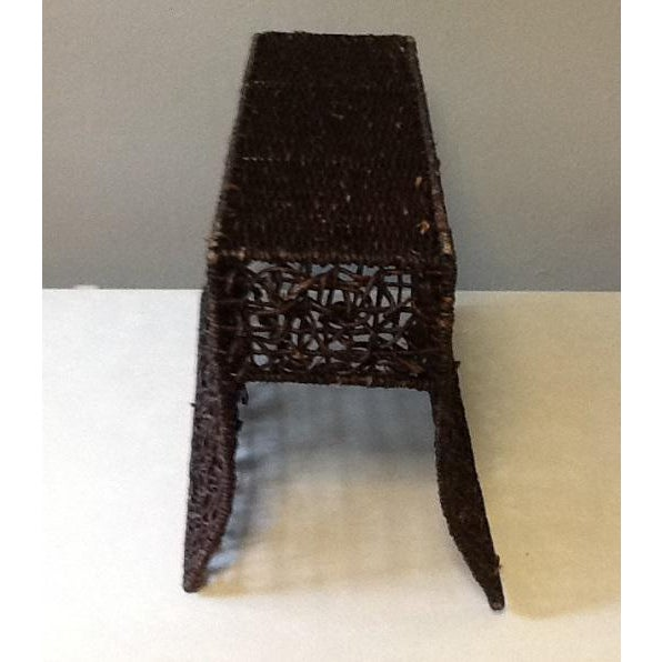 Mid 20th Century Vintage Brown Wicker Magazine Stand For Sale - Image 5 of 7