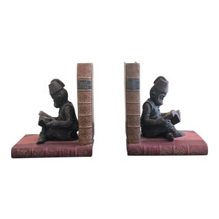 Traditional Monkey on Book Bookends - a Pair For Sale