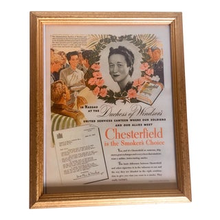 1943 Wallis Simpson, Duchess of York Chesterfield Advertisement For Sale