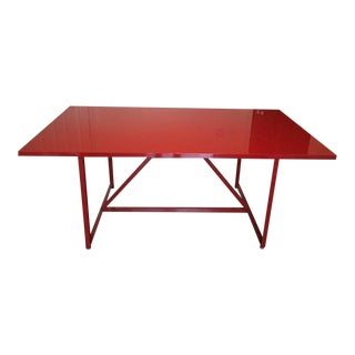 Art Deco Style Red Lacquered Writing Desk/Dining Table