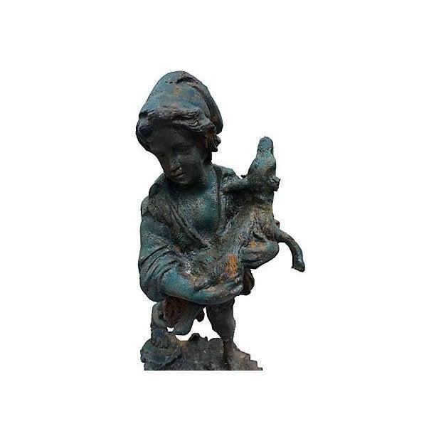 French Cast Iron Boy & Calf Garden Statue - Image 2 of 6