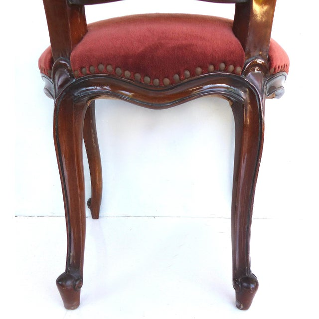 Red Louis XV Style Mahogany Dining Chairs With Carved Pierced Backs-Set of 6 For Sale - Image 8 of 12
