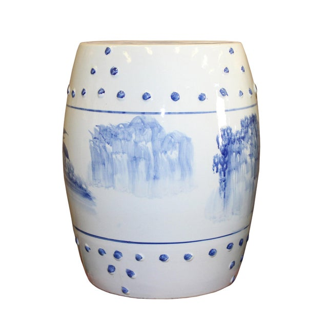 Chinese Blue & White Porcelain Scenery Round Stool Table - Image 2 of 7