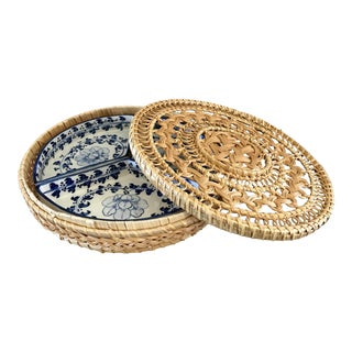 Boho Chic Porcelain Serving Set in a Round Lidded Basket - 4 Pieces For Sale