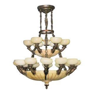 Large Alabaster and Bronze Chandelier For Sale