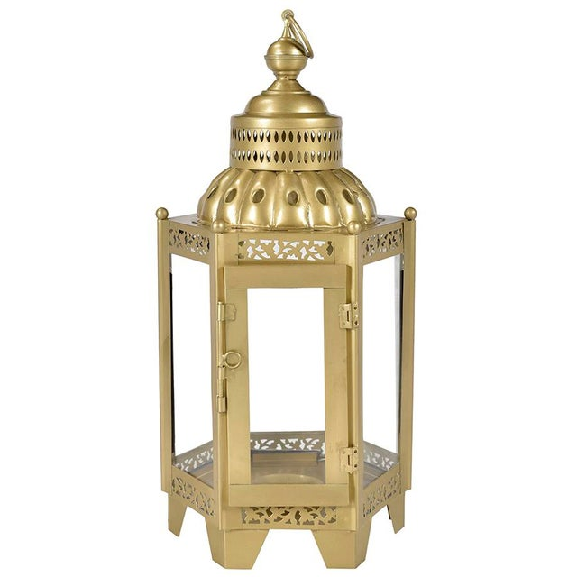 Asian Brass Finish Iron and Glass Lantern For Sale - Image 3 of 3