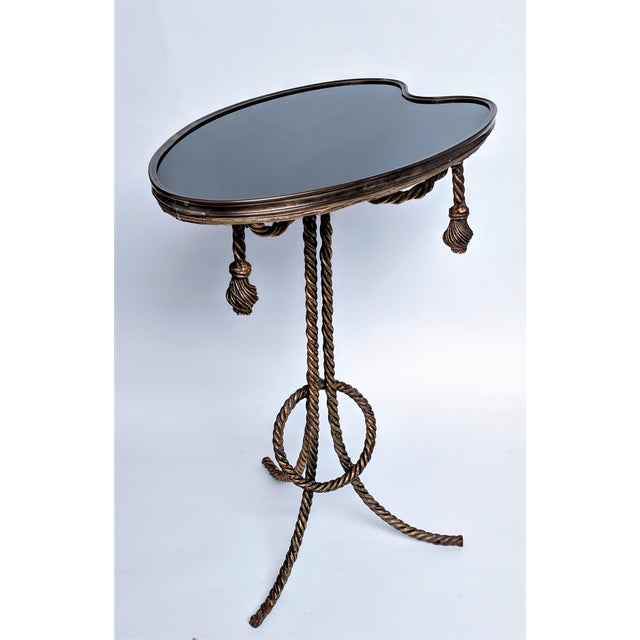 Gilded Rope & Black Glass Side Table For Sale - Image 4 of 12