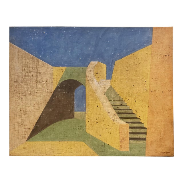 De Chirico Style Painting of Adobe Steps by Jacques Lamy For Sale