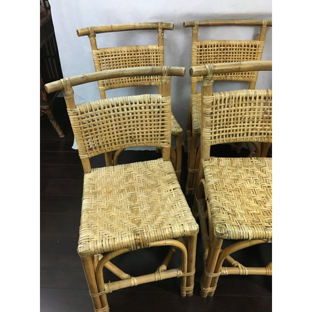 Vintage Bamboo and Rattan Chairs - Set of 6 - Image 3 of 10