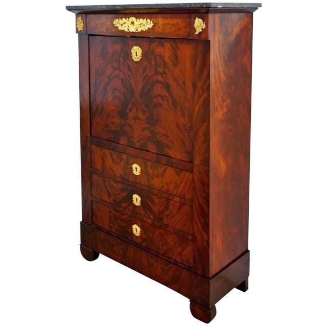 Antique 1852 French Empire Secretaire Abattant Secretary Desk For Sale - Image 12 of 12