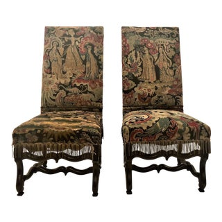 Pair Antique 19th Century French Walnut and Needlepoint Chairs. For Sale