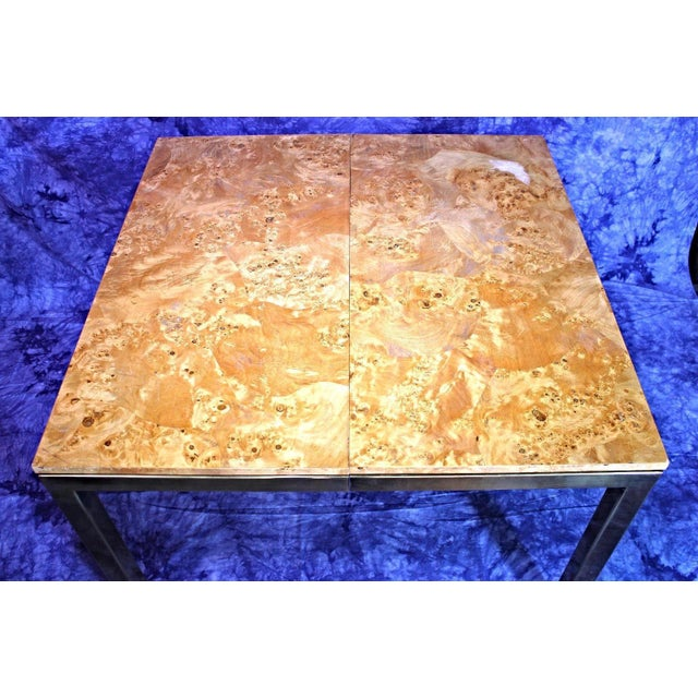 Milo Baughman Style Burled Wood & Brass Square Dining Table For Sale - Image 10 of 10