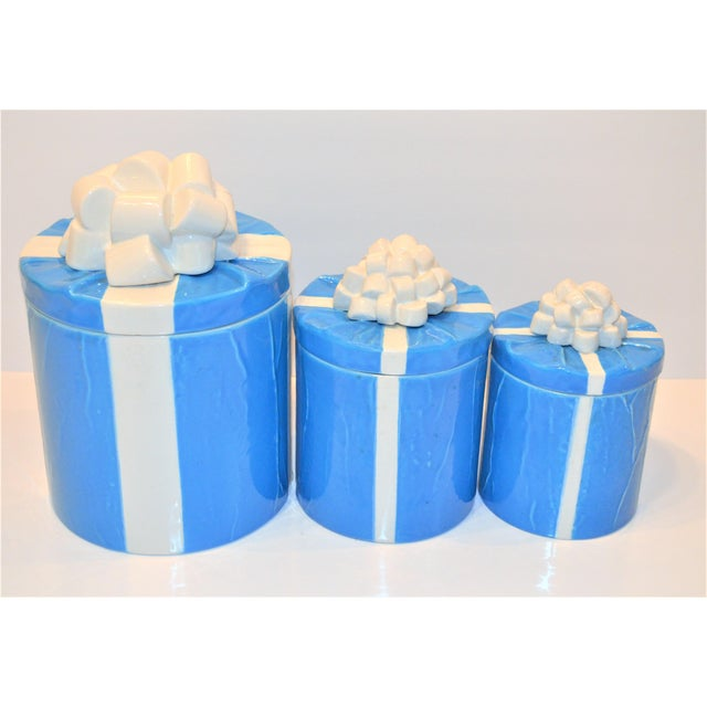 1970s Italian Trompe l'Oeil Mancioli Canister Set of 3 For Sale - Image 12 of 13
