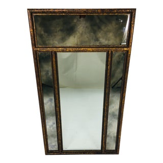 Mid Century Faux Tortoiseshell Wall Mirror For Sale