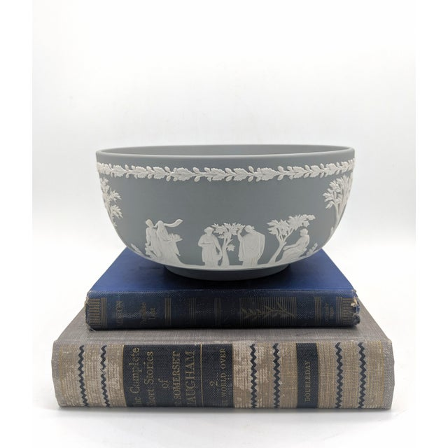 """Stunning graphite gray jasperware bowl with """"Sacrifice"""" pattern. Made in the late 20th century in England by Wedgwood...."""