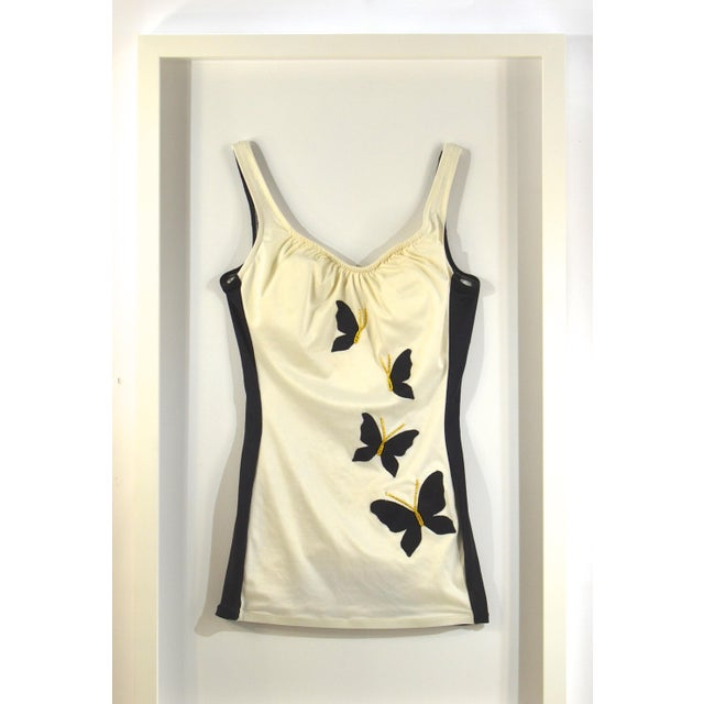 Mid-Century Modern Framed Vintage White & Black Swim Suit For Sale - Image 3 of 4