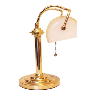 Unique Pleated Frosted Glass and Brass Desk Lamp