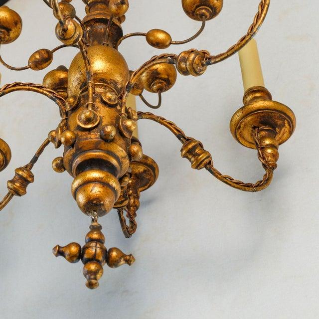 Stunning Giltwood Italian Chandelier For Sale - Image 4 of 11