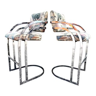 Milo Baughman Chrome Cantilever Counter Bar Stools - a Pair