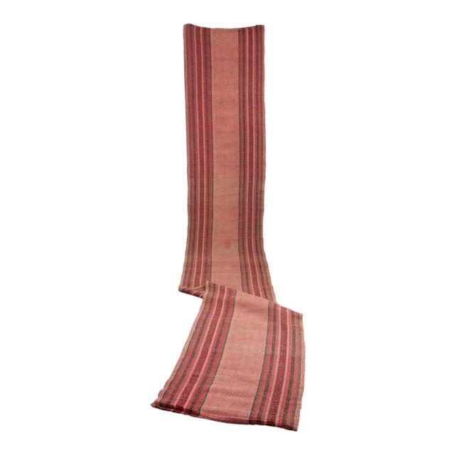 Vintage European Rag Rug Long Stair Runner Pink Red