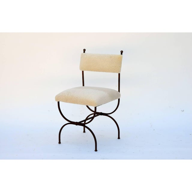 Exceptional Wrought Iron and Sheepskin Side Chair by Gilbert Poillerat For Sale - Image 9 of 10