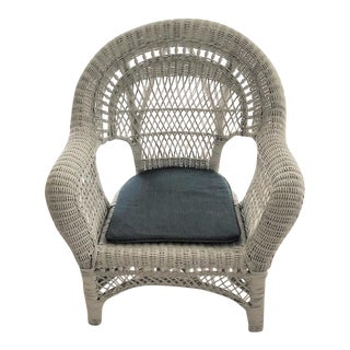 Vintage Mid Century Indoor Large White Wicker Armchair For Sale