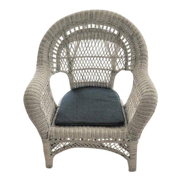 Vintage Mid Century Indoor Large White Wicker Armchair