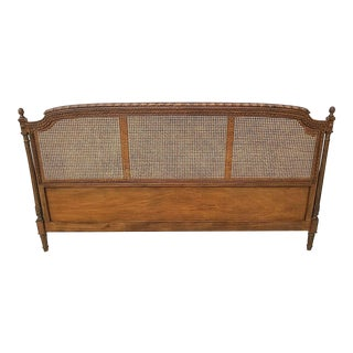 Vintage Trouvailles Furniture Hand Carved Walnut Cane Acorn Wall Mount Headboard For Sale
