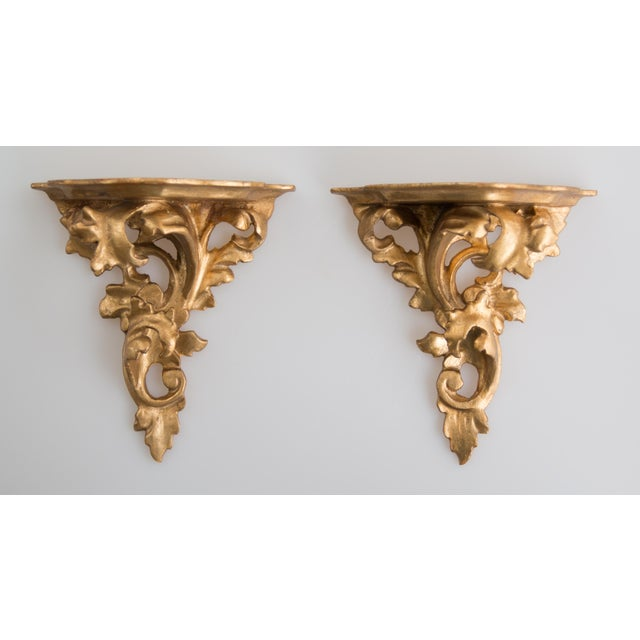 Gold Italian Giltwood Decorative Wall Brackets - a Pair For Sale - Image 8 of 8