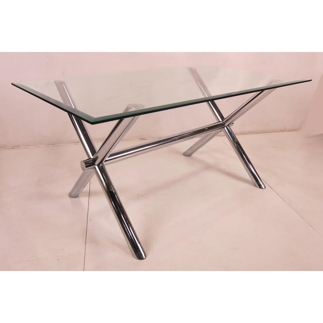 Rarely seen X-base trestle style dining table base that can be used as either a dining table or writing desk. The base...