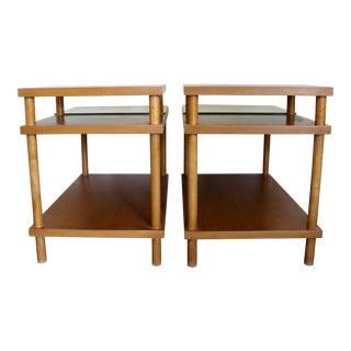 Robsjohn-Gibbings Widdicomb Mid-Century Modern Two-Tiered End Tables - a Pair